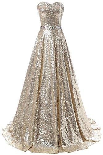 Beyonddress Damen Schatzausschnitt Paillette Abendkleider Ballkleid Lang Perlen Prom Kleid Partykleid(Gold,46)