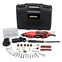Vollplus 135W Rotary Tool Kit Variable Speed 8000-33000RPM with Flex Shaft, Handle, Cutting Guide and 80Pcs Accessories, Multi-functional for Home Grinding, Cutting, Carving and Sanding VPMG2010