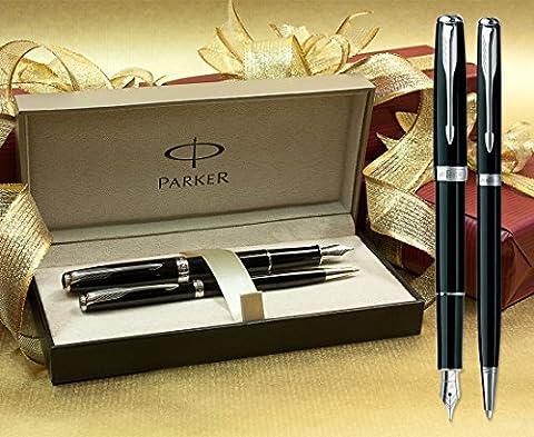 Parker Sonnet Stylo plume et stylo à bille fin Lot–Noir/garniture chromée