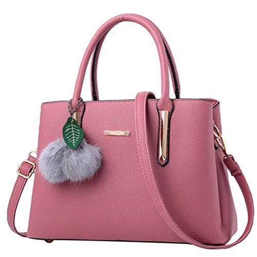 Baymate Mode Handtasche Tragetasche Damen PU Leder Messenger Bags Pink