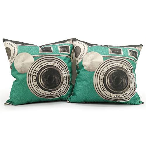 YNester 2 Retro Kamera Überwurf Kissen, Vintage Leinen Quadratisch Kissenbezug Dekorative Kissenbezüge mit Verstecktem Reißverschluss für Home, Wohnzimmer, Schlafzimmer, 45 x 45cm, 18inch Grün -
