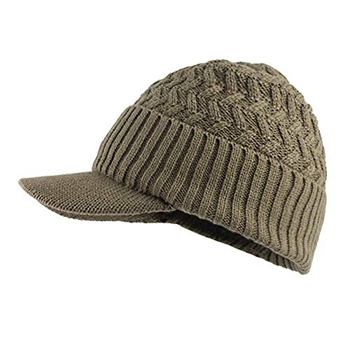 bbcb643c7eb Princer Womens Winter Warm Knitted Hats Slouchy Beanie Hat Cap with Visor  (Khaki 1)