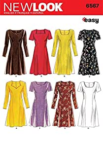 New Look Sewing Pattern 6567 - Misses Dresses Sizes: A (6,8,10,12,14,16)