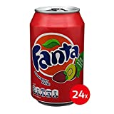 Fanta - 20 Sorten - 24 Dosen - Apple Sour Cherry Berry Cassic Cherry Exotic Fruit Twist Grape Lemon Mango Passionfruit Peach Pinneapple Rasberry Strawberry Kiwi pfirsich erdbeer kirche apfel traube Mezzo agrume Shokata holunderblüte Maracuja (Strawberry & Kiwi, 24x 330ml)