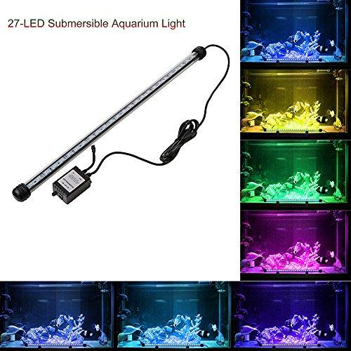 ABEDOE - Set di 12 luci LED per acquario, simulatore di luce diurna, impermeabile, per acqua salata e acqua dolce, 24 tasti, telecomando RC