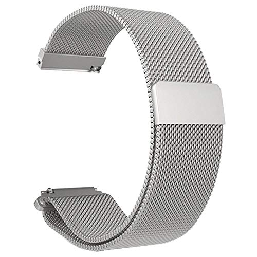 Vamoro Stainless Steel Bracelet Watch Band Strap for Xiaomi Amazfit Bip Youth Watch Magnet Uhrenarmband(Silber)