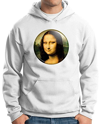 Cotton Island - Sudadera Hoodie TR0099 Mona Lisa 25mm Gioconda Classic Art Painting Da Vinci, Talla XL