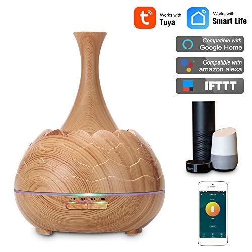 Smart WiFi Wireless LED Nachtlampe 400ml Luftbefeuchter Ätherisches Öl Aromatherapie Nebel Diffusor Telefon App Control Sprachsteuerung Kompatibel mit Alexa & Google Home