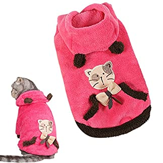 Cat Winter Hoodie, Legendog Puppy Fleece Clothes Coral Velvet Cat Winter Coat Pet Hoodie for Cat Puppy S 51Q0NbMQcCL