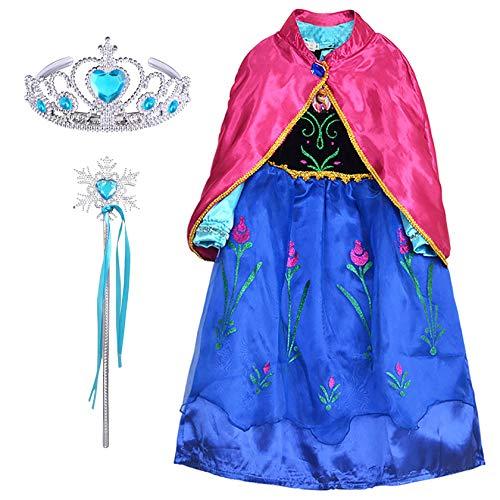 FStory&Winyee Kinder Prinzessin Anna Kostüm Mädchen Eiskönigin Anna Kleid Set Krone Zauberstab Umhang Cosplay Verkleidung Snow Queen Outfit Blau Karneval Party Weihnachten Fasching Geburtstag (Snow Queen Kleid Kostüm)
