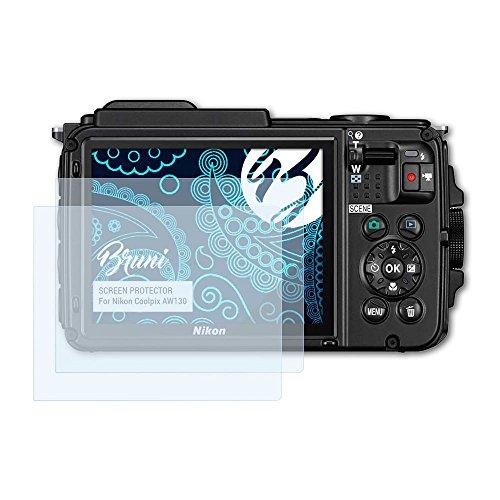 Bruni Pellicola Protettiva per Nikon Coolpix AW130 Pellicola Proteggi, cristallino Proteggi Schermo (2X)