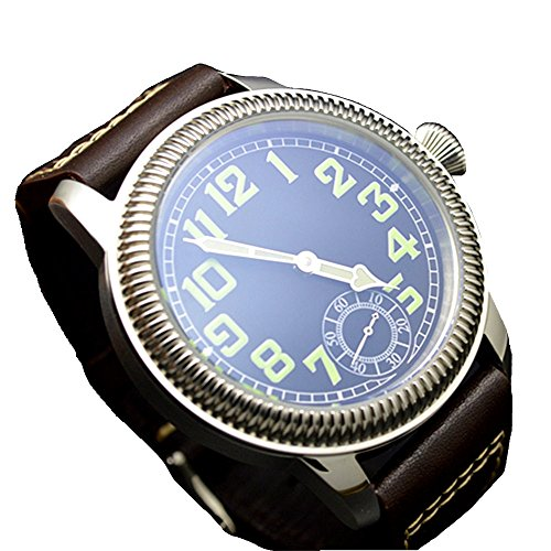 44mm Parnis Luminous Zifferblatt schwarz Hand Aufziehen Herren Armbanduhr asiatischen Unitas 6498Herren Armbanduhr Marke