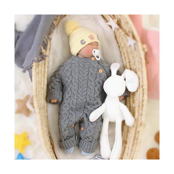 Mameluco de Punto de Invierno para bebé,Bebé recién Nacido niño niña Invierno Color sólido botón suéter Mono de Punto… 3