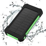 FLOUREON Solar Ladegerät Power Bank 10000mAh Akku Batterie Outdoor Wasserdicht mit Dual USB LED Taschenlampe für iPhone iPad Android-Handy Tablet Smartphones usw (Grün)