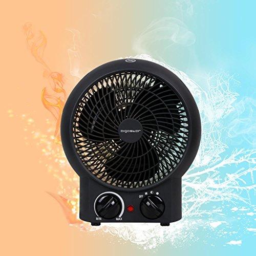 Aigostar Airwin Black 33IEL – TermoVentilatore con Termostato Regolabile, Funzione Doppia Aria Calda e Fredda, 2000 Watt con protenzione anti-surriscaldamento. Design esclusivo. comprare on line