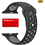 Taslar Replacement Band Strap for Apple Watch 42mm Series 3, Series 2, Series 1, Sport, Edition (Black Grey)