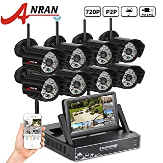 ANRAN Megapixel 720P Wireless Waterproof Outdoor IP Camera System Night vision with 8CH Security WIFI 720P HD 7 inch Monitor Network NVR Wifi Kit Support Smartphone Remote view