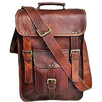 """jaald 15"""" Men's Genuine Leather Messenger Bag Laptop case Vertical Satchel Shoulder Bag Distressed Crossbody Bag"""