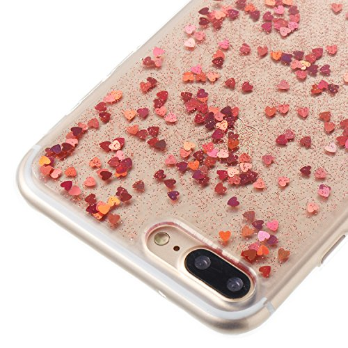 Custodia iphone 7 Plus / iphone 8 Plus, iphone 7 Plus / iphone 8 Plus Cover, iphone 7 Plus / iphone 8 Plus Custodia Silicone,Cozy Hut Case Cover per iphone 7 Plus / iphone 8 Plus, Shiny Sparkly Bling  Amore oro rosa
