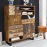 FineBuy Schrank KANPUR 105 x 35 x 130 cm Massiv Holz Highboard Mango Natur | Landhaus-Stil Kommode mit Schubladen & Türen | Flur Anrichte Sideboard Standschrank