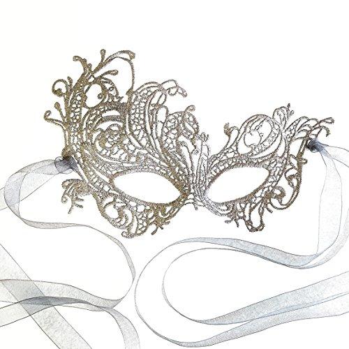 Schön Renaissance Silber Spitze Venezianische faschingsmasken Maskerade maskenball maske damen