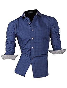 Jeansian Uomo Maniche Lunghe Moda Men Shirts Slim Fit Disegno Casual Collare Camicie 8701