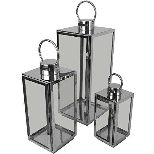 Set Laternen mit Henkel H56/42/30cm aus Edelstahl/Glas Laternen Windlichter Gartendekoration Silber ()