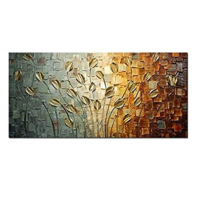 H.COZY Hand Painted Textured Palette Knife Canvas Painting Decorative Flowers Wall Art Modern Home Abstract Oil Picture Ft189 (No Frame)