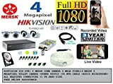 Mersk 4 Mega Pixel Dome and Bullet Camera and Hikvision 4 Ch DVR with all required accessories