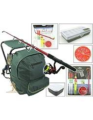 Roddarch Junior Beginners Fishing Kit Set Inc. Rod, Reel, Tackle Set, Fishing Stool Seat Rucksack & Bait Box