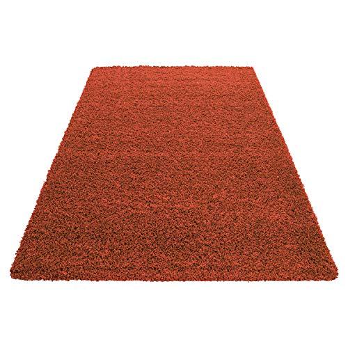 Hochflor Shaggy Teppich Wohnzimmer 3 cm Florhöhe einfarbig Teppiche mit OKOTEX, Maße:80 cm x 150 cm, Farbe:Orange - Rost Farbe, Teppiche