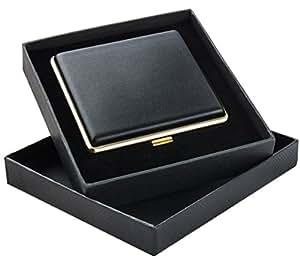 Zigarettenetui schwarz als Geschenkset für Raucher – Zigarettenetui Metall mit Öffnungsautomatik – Zigarettenetui Leder für 20 Zigaretten – Zigarettenbox – Zigarettendose