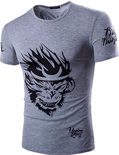 Men's 3D Camisetas Monkey King Printed Short Sleeves Tee Shirt gray