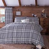 Baumwolldecke Set Bettbezug Edinburgh Doppel Grau Kariert