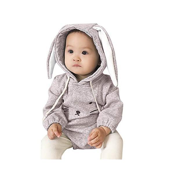 MAYOGO Mono Ropa Bebe Sudadera Manga Larga con Capucha Mameluco Conejo Bodis Ropa Animales para Bebe Niños Invierno Bebé… 4