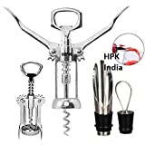 Hpk Stainless Steel Corkscrew Wine Beer Bottle Opener, Stopper And PourerSet, 3IN(Multicolour)