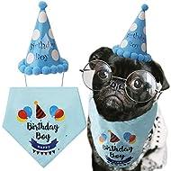 LUTER Dog Birthday Bandana Triangle Scarfs Cute Doggie Birthday Party Hat Happy Birthday Boy Print for Dog or Puppy Birthday Decor (Blue)