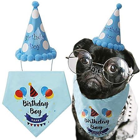 LUTER Hund Geburtstag Bandana Dreieck Schals niedlichen Hund Geburtstag Partyhut Happy Birthday Boy Print für Hund oder Welpe Geburtstag Dekor