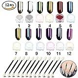 Set di pigmenti in polvere per unghie effetto glitter, per decorazione fai da te, con pennellini di applicazione inclusi (12 colori)