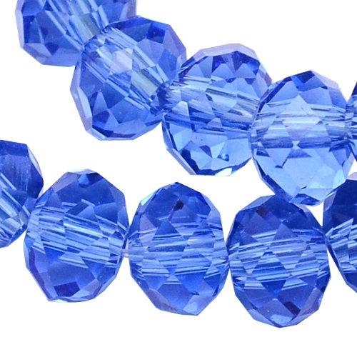 20 TSCHECHISCHE KRISTALL PERLEN GLASPERLEN 8mm x 6mm BLAU SAPPHIRE Facettiert Rondell Glasschliffperlen Feuerpoliert Perle zum fädeln für DIY Schmuck Herstellung X201 -
