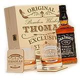 polar-effekt 6-TLG Whisky Geschenk-Set mit Jack Daniels No.7 | 2 Whiskygläser, 2 Untersetzer und Whiskey Flasche in Geschenk-Box Personalisiert mit Gravur - Motiv Original-Exklusive