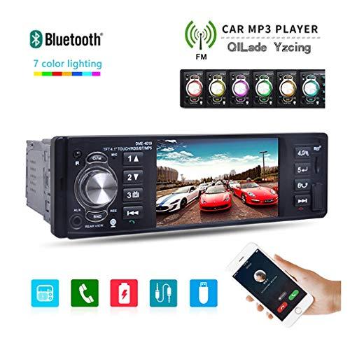 QILade Yzcing Auto Stereo Auto FM/RDS Radio Empfänger, 1 Din LCD Touchscreen Spiegel Link, Unterstützung Bluetooth/USB/SD/AUX-in mit 4.1