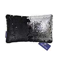 Aitliving Full Sequins Pillow Cover Cushion Case Magical 30X50cm Mermaid Scales Handmade Matte Black & Silver 2-tone Colours Changing Sequin for Home Cafe Car Sofa Party Decor