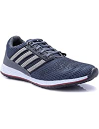 Arawali Men's Grey With White Strips Mesh Falcon Elite Sport/Running Shoes.