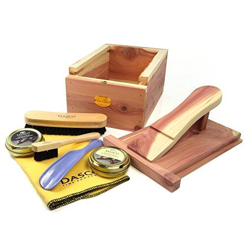Hangerworld Zedernholz Schuhputzbox mit Fußstütze und Schuhpflegset Natürlicher Mottenschutz