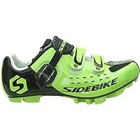 SIDEBIKE Chaussures de Cyclisme VTT Respirantes Professionnelles pour Hommes/Femmes - Vert - Verde/Nero-001, 44 EU