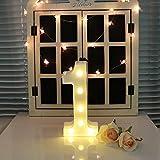 oamore LED Alphabet Licht Brief Dekorative Lampe Licht LED Weiß Beleuchtete Buchstaben und Zahlen für Geburtstag Hochzeit Bar Wandbehang Dekor (1)