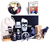 Bartpflegeset ULTIMATIV von BarFex (10-Teile) - Bartöl, Balsam, Shampoo, Bürste, Kamm, Schere, Schablone, Schürze, Stoffbeutel - Einzigartiges Geschenk für Männer - kostenlose Bartpflege Anleitung