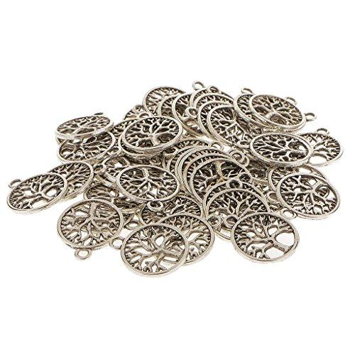MagiDeal 50pcs Antike Silber Baum Des Lebens Charms Pendants Anhänger Schmuck Für Halskette Kette DIY (Baum Des Lebens Charme)