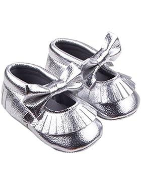 Hongfei Baby Girl Crib Shoes Borla de cuero de la PU de la zapatilla de deporte de la suela suave Toddler Casual...